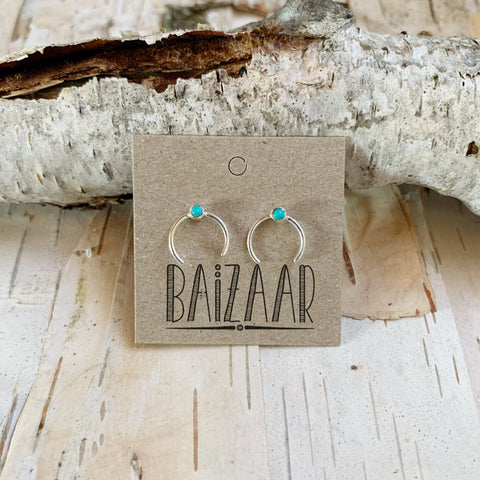 Open Circle Studs With Turquoise