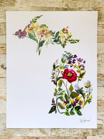 Floral Michigan Print 11x14