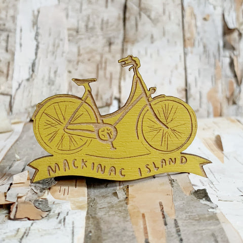 Mackinac Island Bike Magnet Mustard