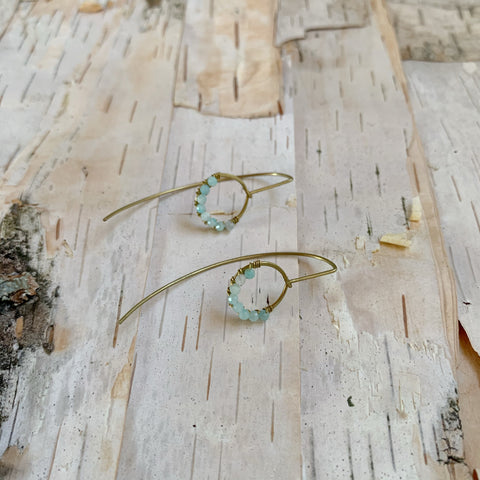 Amazonite Small Hoop Drop Earring
