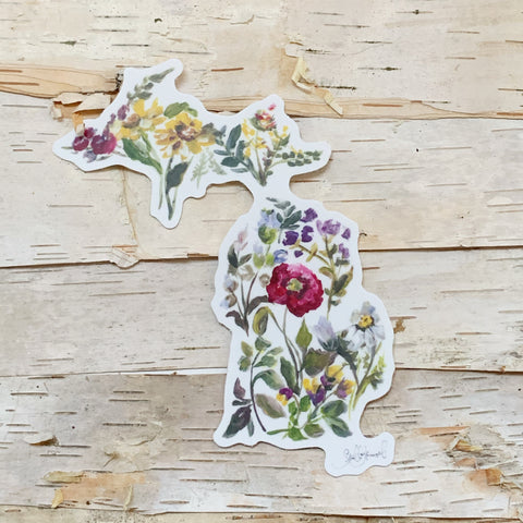 Floral Michigan Sticker Shelby Kregel