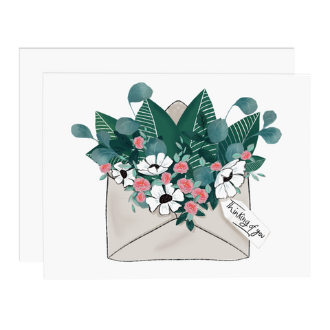 Envelope Flowers Thinking Of You Card