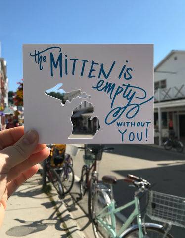 The Mitten Is Empty Without You Letterpress Die Cut Card