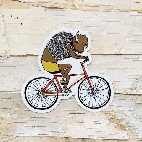 Bison on Bike Sticker