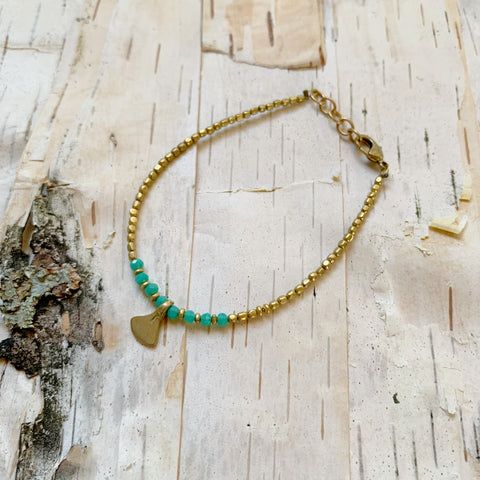 Turquoise Triangle Drop Beaded Bracelet