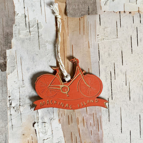 Mackinac Island Bike Ornament Burnt Orange