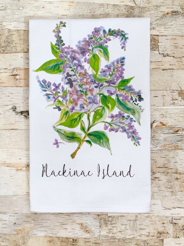 Lilac Mackinac Island Tea Towel