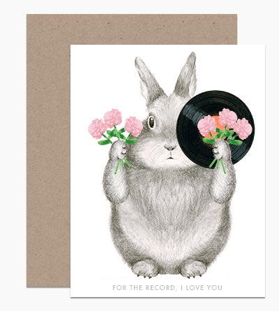 For The Record Love Bunny Card