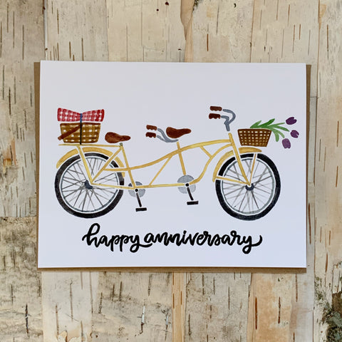 Tandem Bicycle Anniversary Card