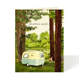 Adventure Awaits Camper in the Forest Card