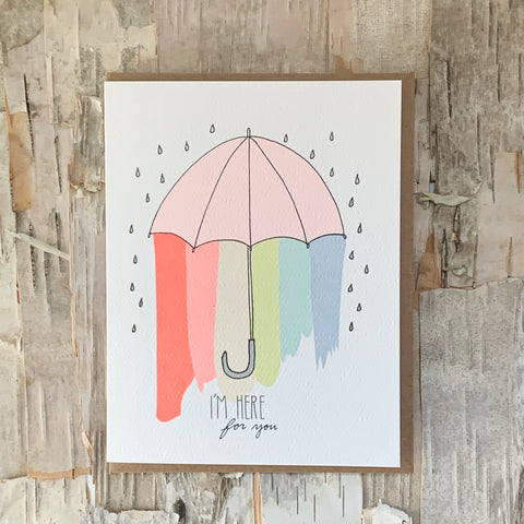 Here For You Umbrella Rainbow Card
