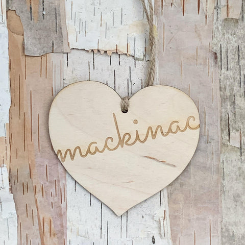 Cursive Mackinac Wood Heart Ornament