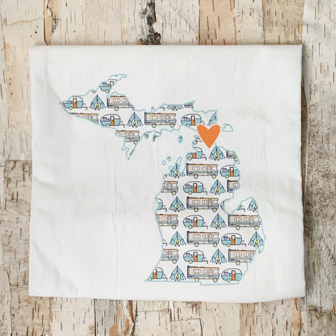 Michigan Shape With Camper Tea Towel