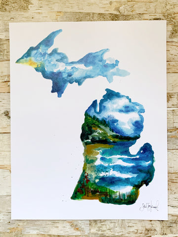 MI Lake Watercolor Print 11x14