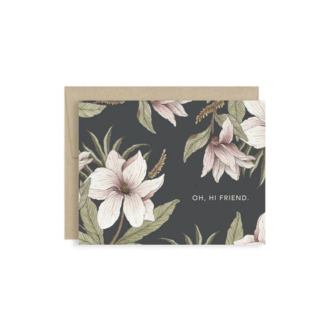 Hi Friend Card Dark Floral