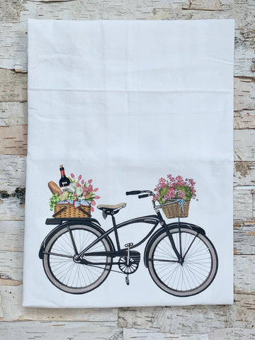 Black Bike Pink Flowers Towel