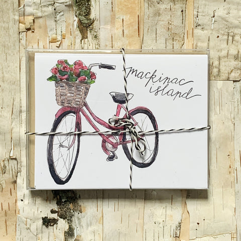 Mackinac Pink Bike Card Set of 6
