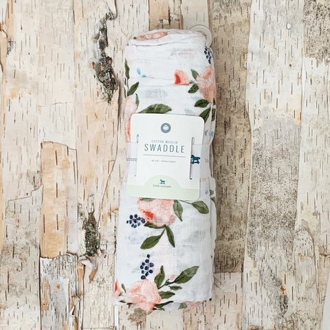 Cotton Muslin Swaddle Watercolor Rose