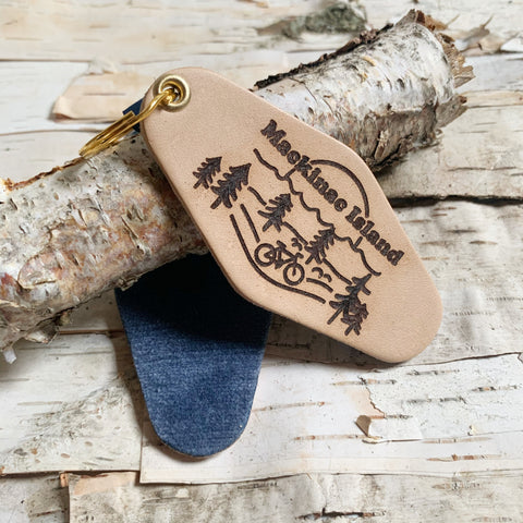 Mackinac Island Scene Leather and Blue Velvet Key Fob
