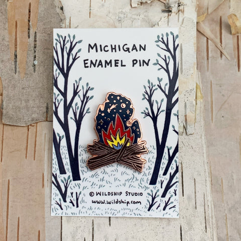 Michigan Bonfire Enamel Pin