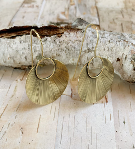 Brass Earring Petal Circle Shape