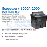 Ecopower Hozelock Hz 1864 6000-12000L Uvc 12W Pond Pump & Filter Bali Reef Aquarium Online Store