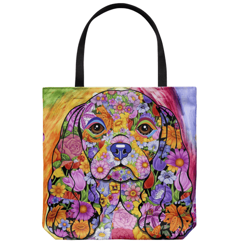 FABULOUS FLOWER CAVALIER KING SPANIEL CANVAS TOTE - NEW BIGGER SIZE
