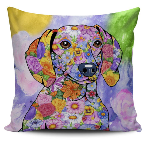 AMAZING FLOWER DACHSHUND PILLOW CASE