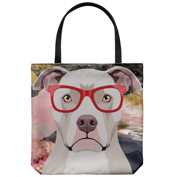 COOL HIPSTER PIT BULL CANVAS TOTE - NEW BIGGER SIZE