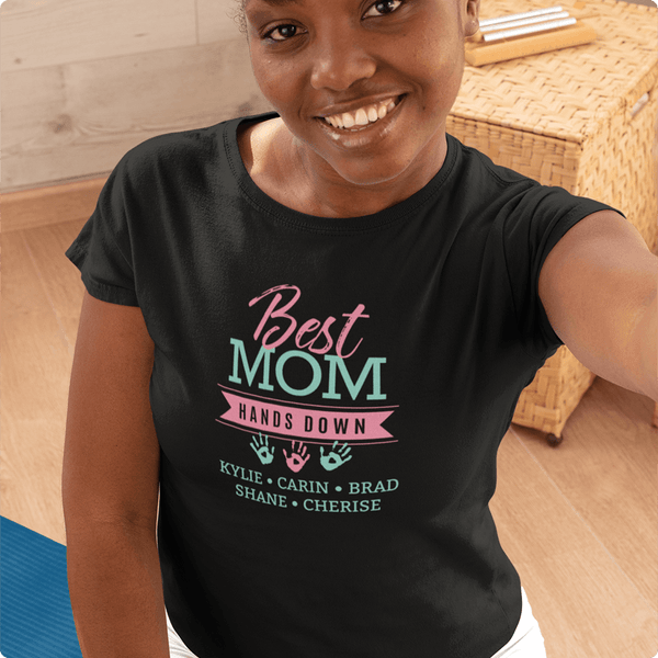BEST MOM TEE PERSONALIZED WITH KIDS' NAMES