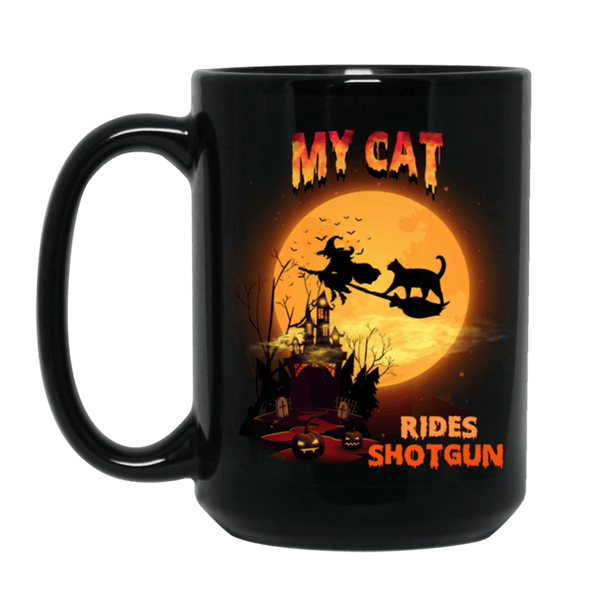 FUN HALLOWEEN CAT RIDES SHOTGUN Black Mug - BIG 15 oz. size