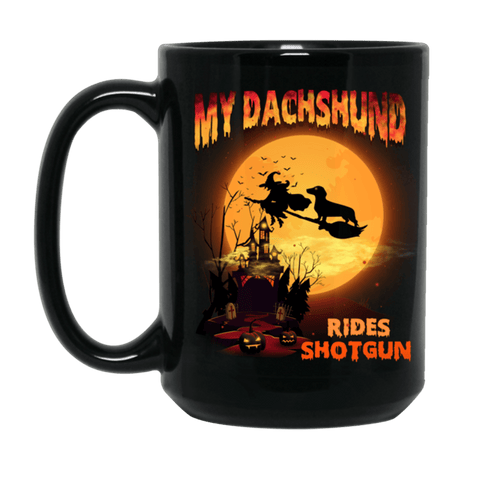 FUN HALLOWEEN DACHSHUND RIDES SHOTGUN Black Mug - BIG 15 oz. size