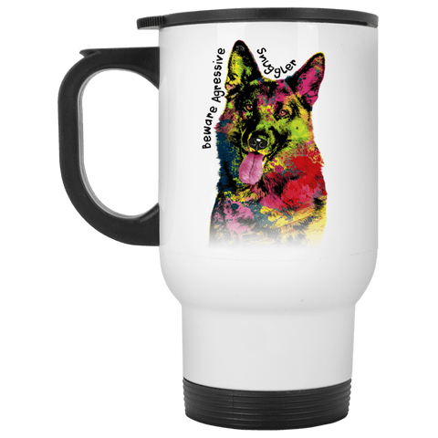 GERMAN SHEPHERD SNUGGLER Stainless Steel White Travel Mug - 14 oz.
