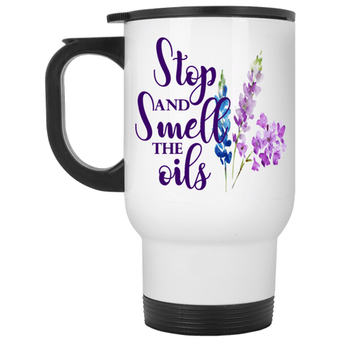 SMELL THE OILS White Stainless Steel Travel Mug - 14 oz.
