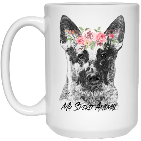 BEAUTIFUL GERMAN SHEPHERD SPIRIT ANIMAL WHITE MUG - BIG 15 oz. size