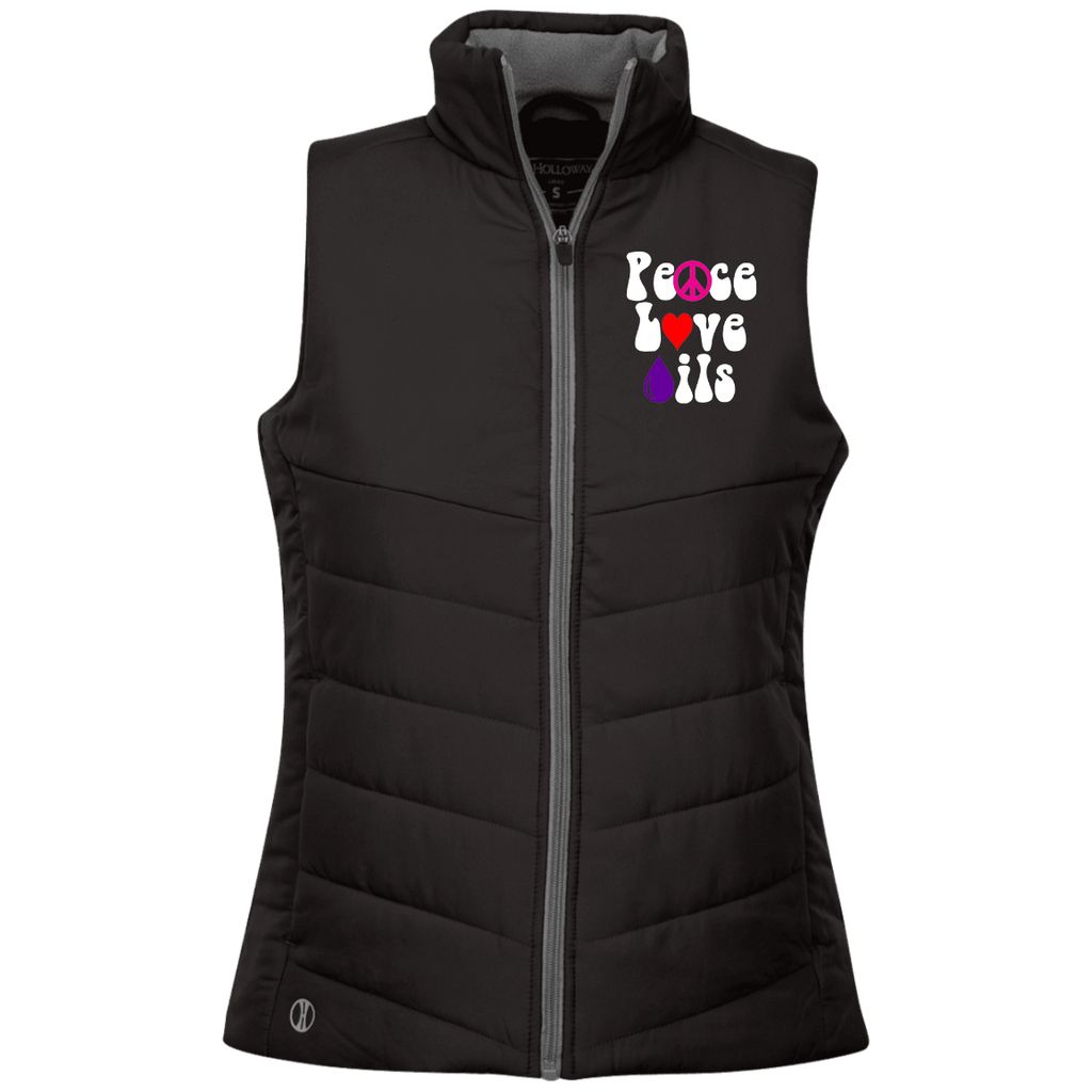 EMBROIDERED PEACE LOVE OILS Holloway Ladies' Quilted Vest