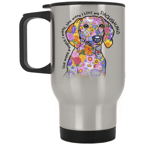 LOVE MY DACHSHUND Silver Stainless Steel Travel Mug - 14 oz.