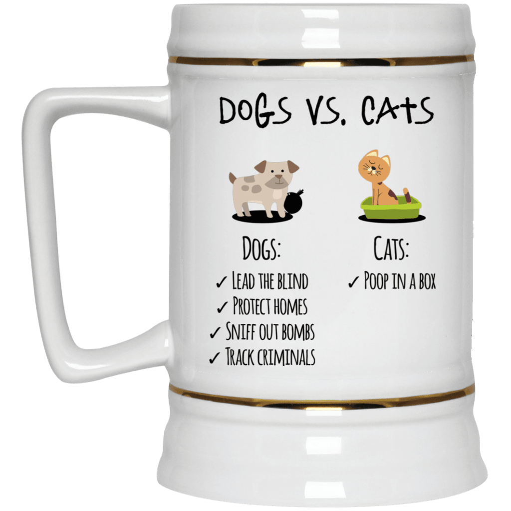DOG VS CATS Beer Stein 22oz.