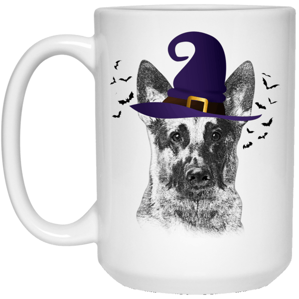 HALLOWEEN GERMAN SHEPHERD WITCH HAT WHITE MUG - BIG 15 oz. size