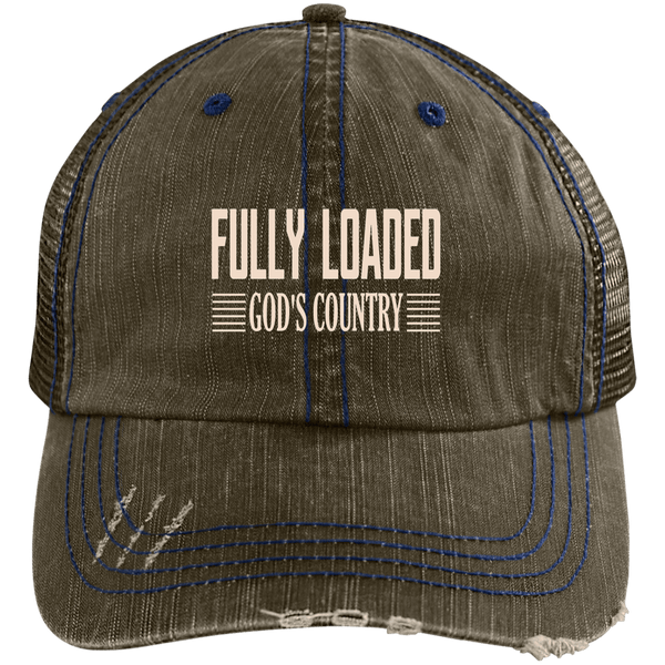 EMBROIDERED FULLY LOADED GOD'S COUNTRY Distressed Unstructured Trucker Cap