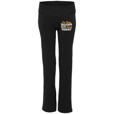 TALK TO MY DOG Ladies' Yoga Pants - EMBROIDERED Design