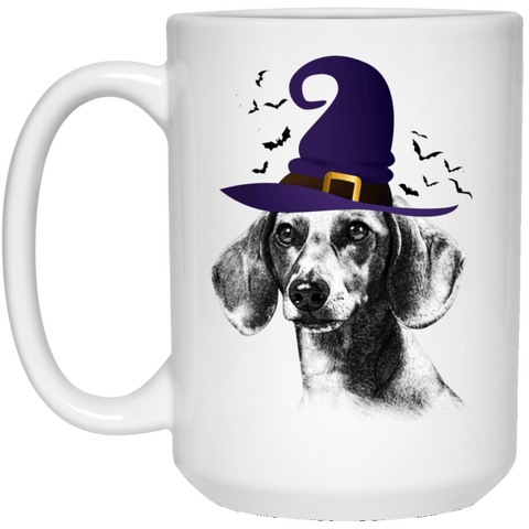 HALLOWEEN DACHSHUND WITCH HAT WHITE MUG - BIG 15 oz. size