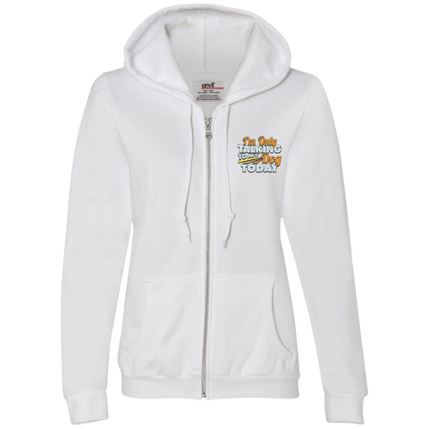 TALK TO MY DOG Ladies Full-Zip Hooded Fleece - EMBROIDERED Design