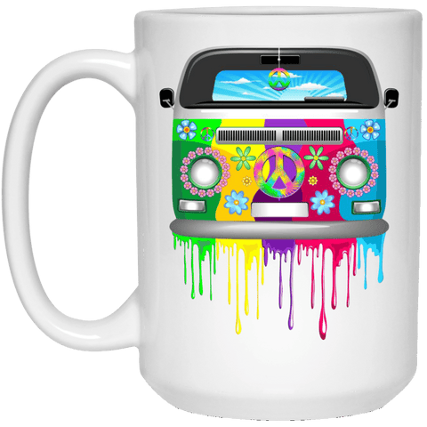 HIPPIE VAN White Mug - BIG 15 oz. size