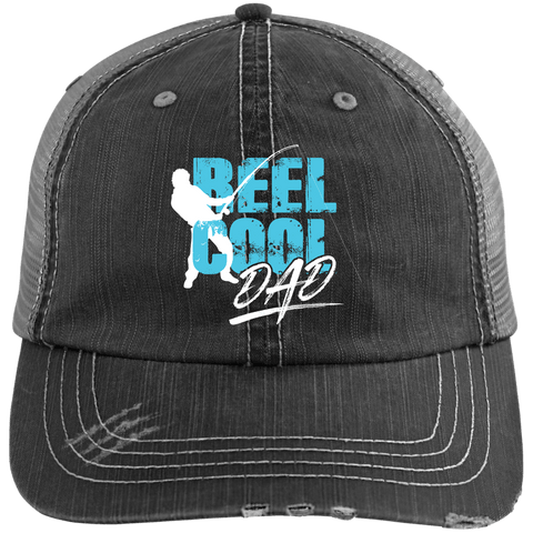 EMBROIDERED Reel Cool Dad Distressed Unstructured Trucker Cap