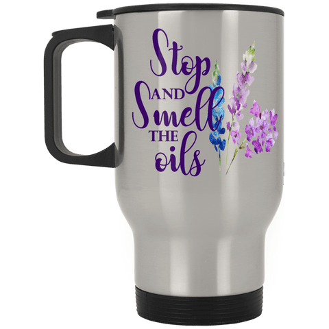 SMELL THE OILS Silver Stainless Travel Mug - 14 oz.