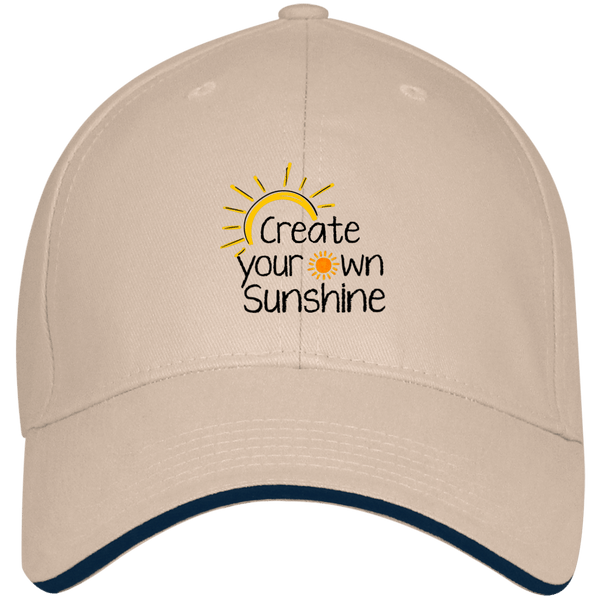 EMBROIDERED SUNSHINE Bayside USA Made Structured Twill Cap With Sandwich Visor