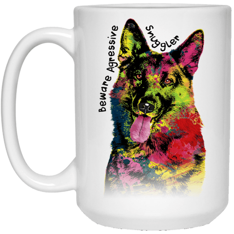 GERMAN SHEPHERD SNUGGLER White Mug - BIG 15 oz. size