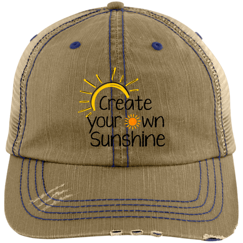 EMBROIDERED SUNSHINE Distressed Unstructured Trucker Cap