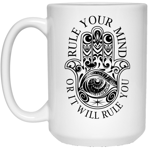 RULE YOUR MIND White Mug - BIG 15 oz. size